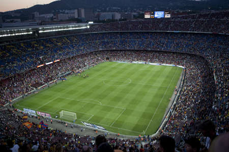 BARCELONA, SPAIN - AUGUST 18  A sold out Barcelona football stadium Camp Nou during the match between FC Barcelona and FC Levante on August 18, 2013 in Barcelona, Spain