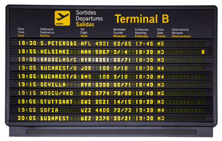 sofia: Barcelona international airport departures board isolated on white  Stock Photo