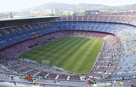 BARCELONA, SPAIN – AUGUST 18: A sold out Barcelona football stadium Camp Nou during the match between FC Barcelona and FC Levante on August 18, 2013 in Barcelona, Spain.