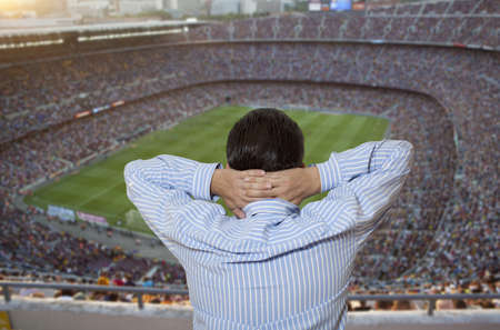 Sad soccer fans in the stadium photo