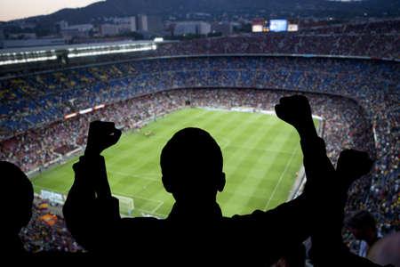 Supporteurs de football heureux dans le stade Banque d'images