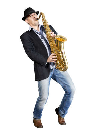 saxophonist: Saxophonist. Middle aged man playing on saxophone isolated on background