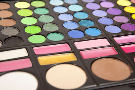 compact: Makeup colorful eye shadow palettes  Stock Photo