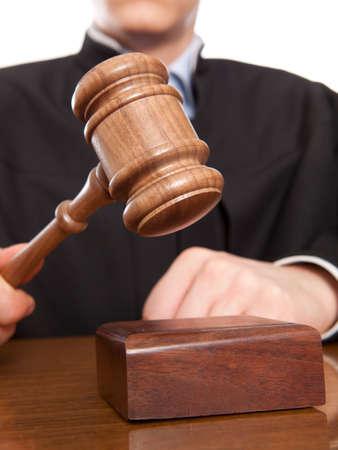 審判のハンマーとの司法ローブの男 写真素材