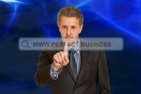 searchbar: Businessman touching web browser address bar with www sign