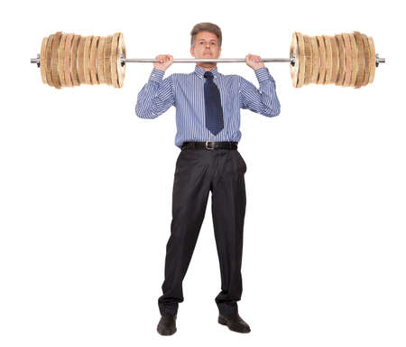 raises: Concept of earning of a businessman who raises money as weights