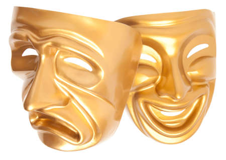 histrionics: Comedy and Tragedy theatrical mask isolated on a white background