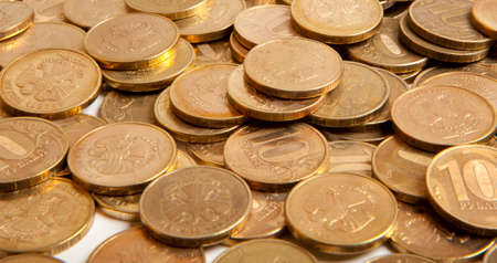 Russian ruble golden coin. Ð¡oins background. Stock Photo - 24637477