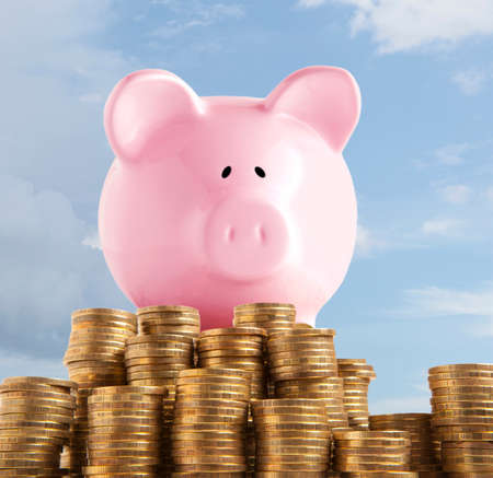 retirement fund: Piggy bank on golden coin and money tower