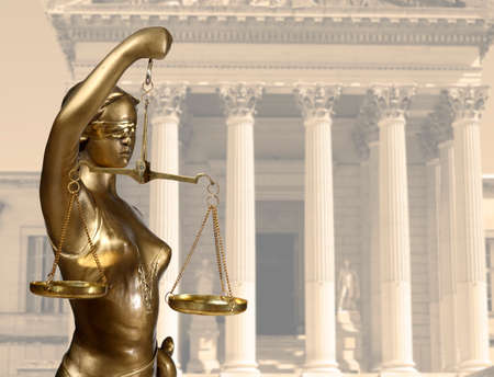 sword act: Justice statue is on against the courthouse