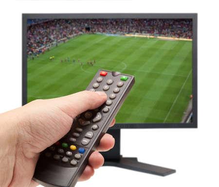 ver tv: Viendo fútbol en televisión Foto de archivo