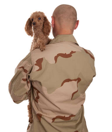 Marine in camouflage uniform with a dog standing on a white background photo