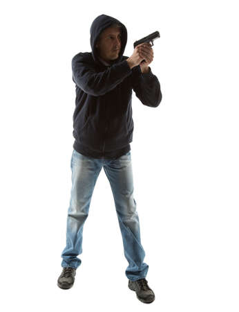 man with gun portrait over isolated background. Full body photo
