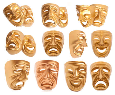 histrionics: Set of Comedy and  Tragedy theatrical mask isolated on a white background Stock Photo