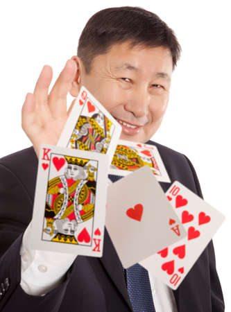 Lucky You, Poker player isolated, royal flush photo