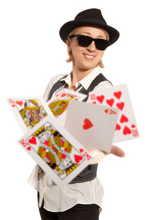 Lucky You, Poker player isolated, royal flush and  photo