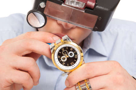watchmaker: Watchmaker  Watch repair craftsman repairing watch  Stock Photo
