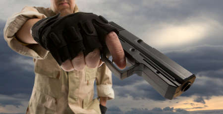 armed: Man Stock Photo