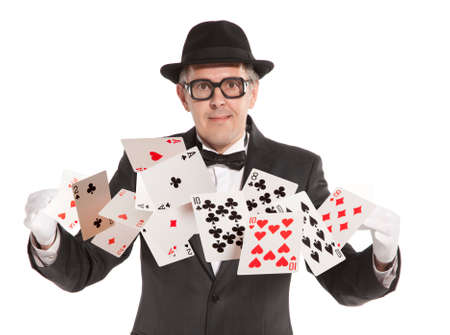 magic trick: Magician show card  Isolated on white background Stock Photo