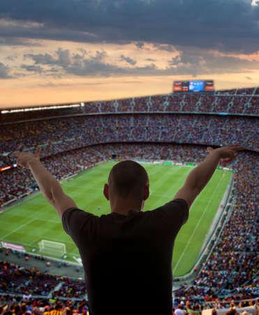 ultras: Happy soccer fans in the stadium