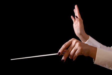 Orchestra conductor hands baton  Music female director holding stick