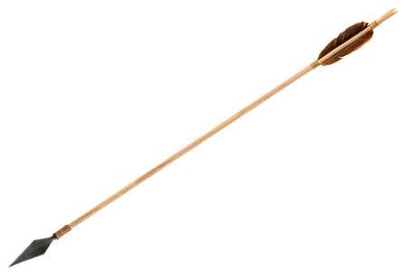 artifact: Antique old wooden arrow isolated on a white background