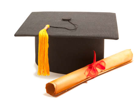 Graduation Cap with Degree Isolated on White Background photo