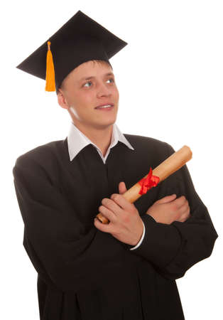 Young graduation man holding diploma, isolated on white Stock Photo