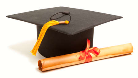 mortar: Gortarboard and graduation scroll, isolated on white