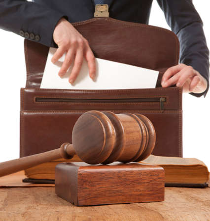 juridical: Caucasian lawyer in court.  Law concept Stock Photo