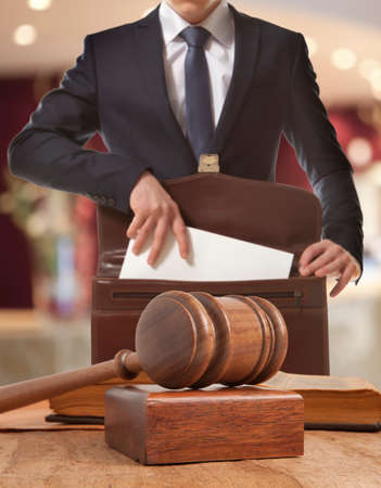 the litigation: Caucasian lawyer in court.  Law concept Stock Photo
