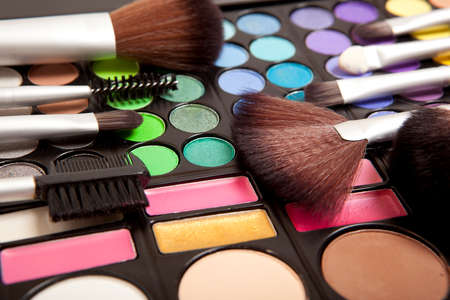 eyemakeup: Makeup brushes and makeup eye shadows Stock Photo