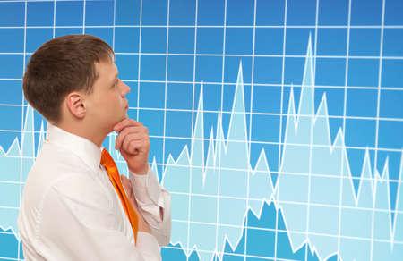 stock trader: Stock trader looking at monitors Stock Photo