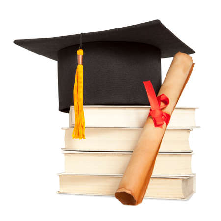 mba: Graduation hat, book and diploma isolated on white