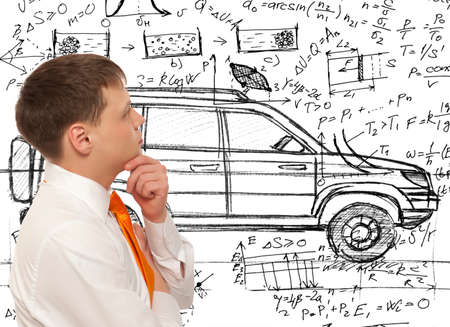 Car designer inventor. Photo compilation, photo and hand-drawing elements combined