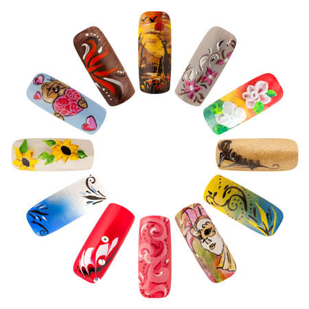 Nail art handmade. Colorful nails isolated a white background Archivio Fotografico