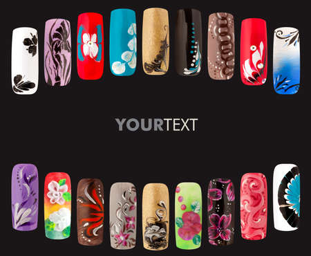 Nail art handmade. Colorful nails isolated a black background 版權商用圖片