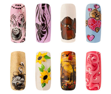 Nail art handmade. Colorful nails isolated a white background Imagens