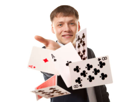 Bluff, Man playing with poker cards photo