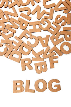 publicist: Recycling paper letters forming word Blog, isolated on a white background