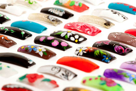 nailcare: Nail art handmade. Colorful nails isolated on white background