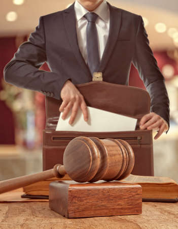 court: Caucasian lawyer in court.  Law concept Stock Photo