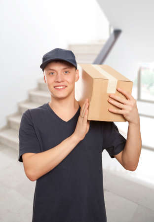 homeowner: Man delivering package to homeowner