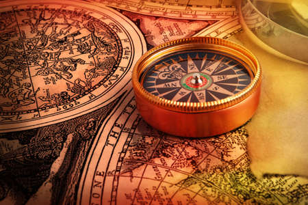 bygone: Old compass on vintage retro map 1687 Stock Photo