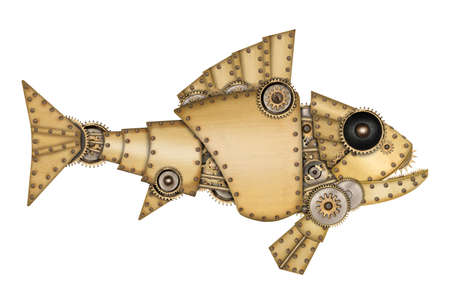 Steampunk style. Industrial mechanical fish isolated on white background. Photo compilation.