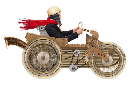 Jonge zakenman snel rijden op een stuk speelgoed auto. Steampunk stijl. Foto compilatie