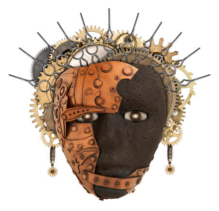 african mask: African mask. Metal collage