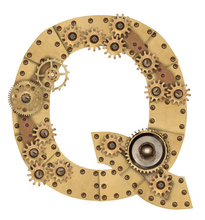 compilation: Steampunk mechanical metal alphabet letter Q. Photo compilation Stock Photo