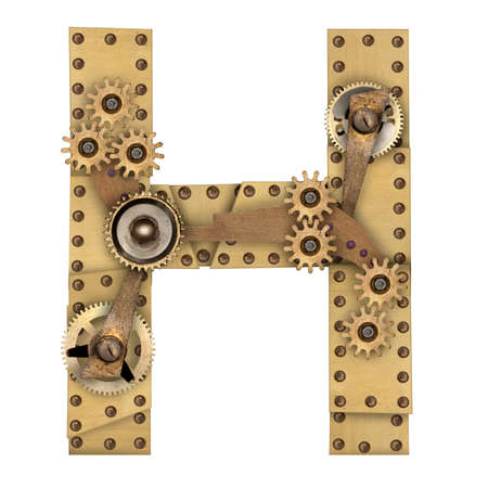 compilation: Steampunk mechanical metal alphabet letter H. Photo compilation