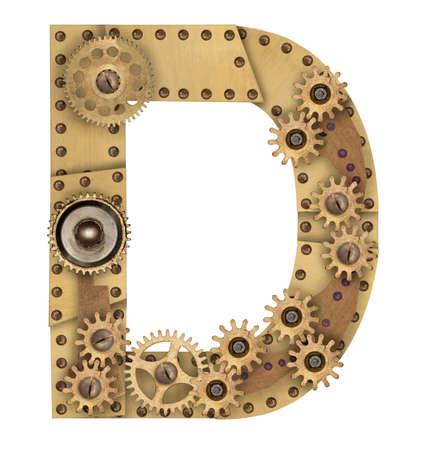 cobre: Letra del alfabeto de metal mecánica Steampunk D. Foto compilación Foto de archivo